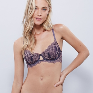 Picture of Satin and Lace Shelf Bra - Dark Violet